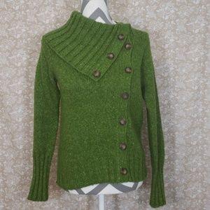 Bcbg asymmetrical button up sweater